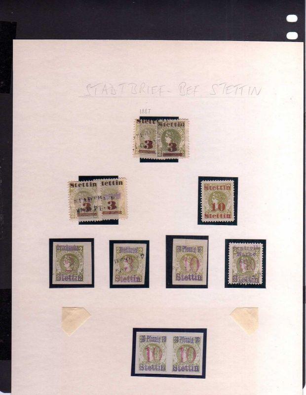 S104 Privatpost Stettin Stadtbrief Beförderung 1887 1888 Max Laschick 11 Marken