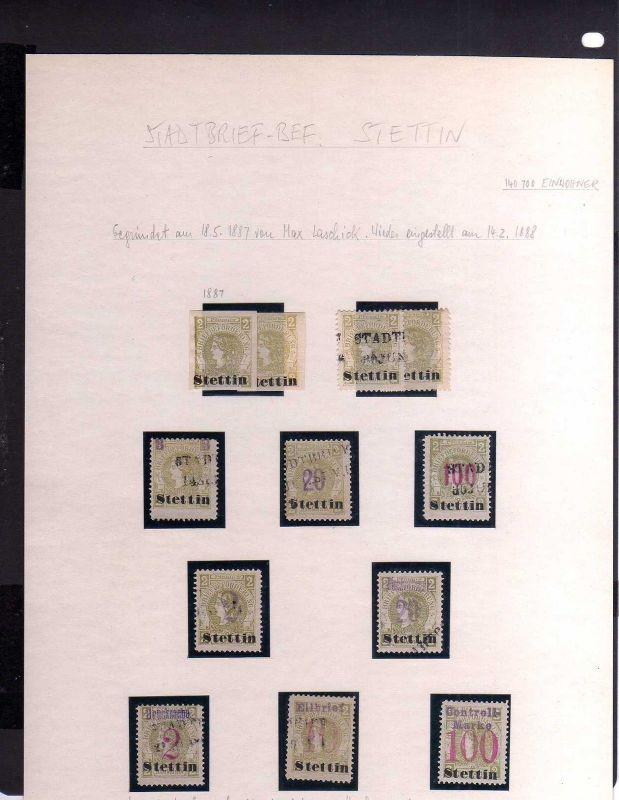 S102 Privatpost Stettin Stadtbrief Beförderung 1887 1888 Max Laschick 12 Marken