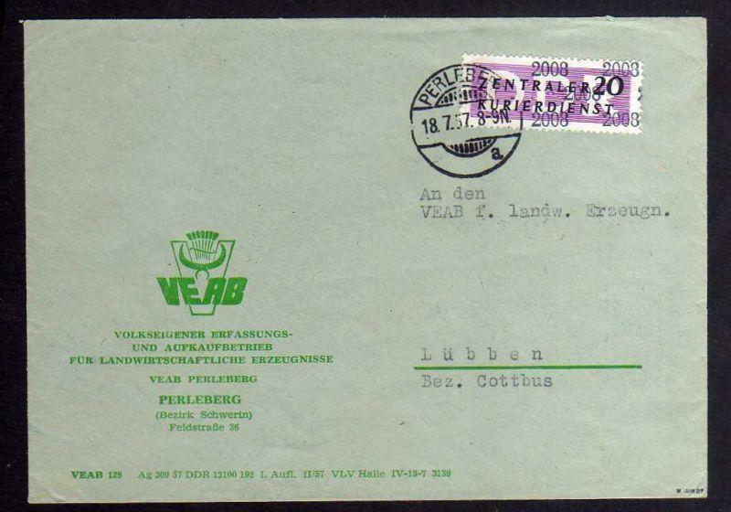 B1850 DDR ZKD 11 Kontrollnummer 2008 Brief Perleberg geprüft BPP VEAB nach Lübbe