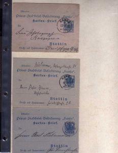 S110 Privatpost Stettin Stadtbrief Beförderung 1895 5 Ganzsachen Kartenbrief geb