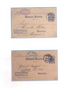 S111 Privatpost Stettin Hansa Karte 7 Ganzsachen 6x gebraucht 1x ungebraucht