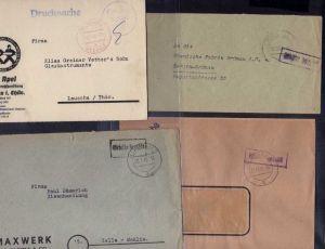 B484 7x SBZ Brief Postkarte Gebühr bezahlt 1945 Ilmenau Taxe percue Einschreiben