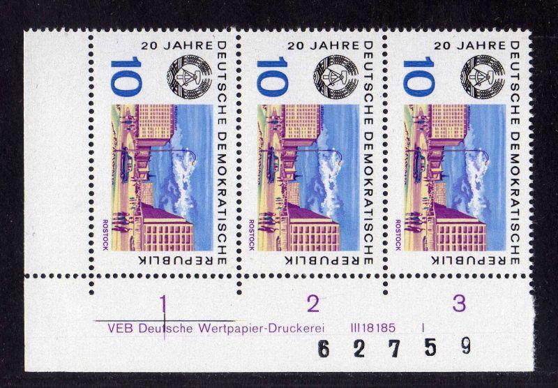 DDR 1969 1495 DV Druckvermerk FN I ** 20 Jahre DDR Rostock + Bogenzählnumme