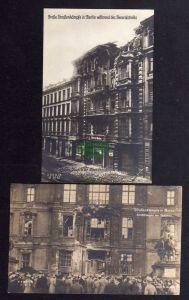 2 Ansichtskarte Berlin 1919 Straßenkämpfe zerstörtes Haus in der Alten Schönhauser S