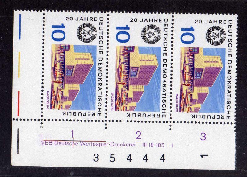 DDR 1969 1500 DV Druckvermerk FN I ** 20 Jahre DDR Magdeburg + Bogenzählnum