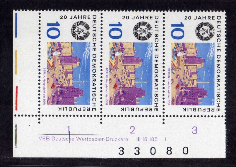 DDR 1969 1505 DV Druckvermerk FN I ** 20 Jahre DDR Berlin + Bogenzählnummer