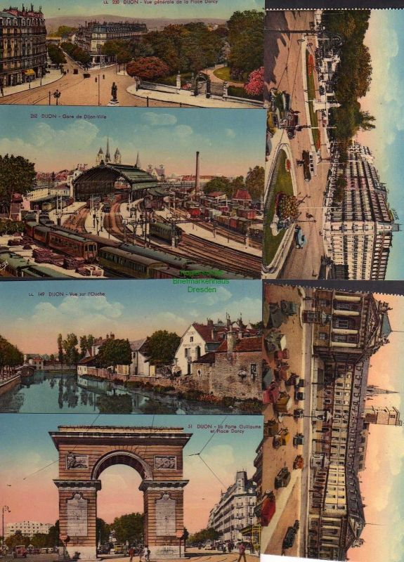 6 Ansichtskarte Gijon Gare de Dijon-Ville Bahnhof Hotel Triumpfbogen um 1915