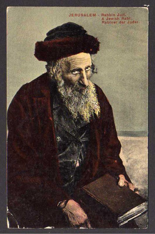 Ansichtskarte Jerusalem Rabbin Juif. A Jewish Rabi Rabiner der Juden