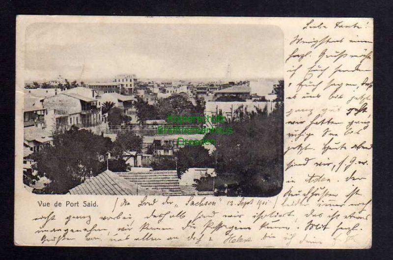 Ansichtskarte Port Said 1901 Deutsche Seepost Ostasiatische Hauptlinie b