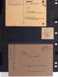 B804 2x SBZ Brief Karte Gebühr bezahlt 1945 Triptis Porzellanfabrik + Briefstück