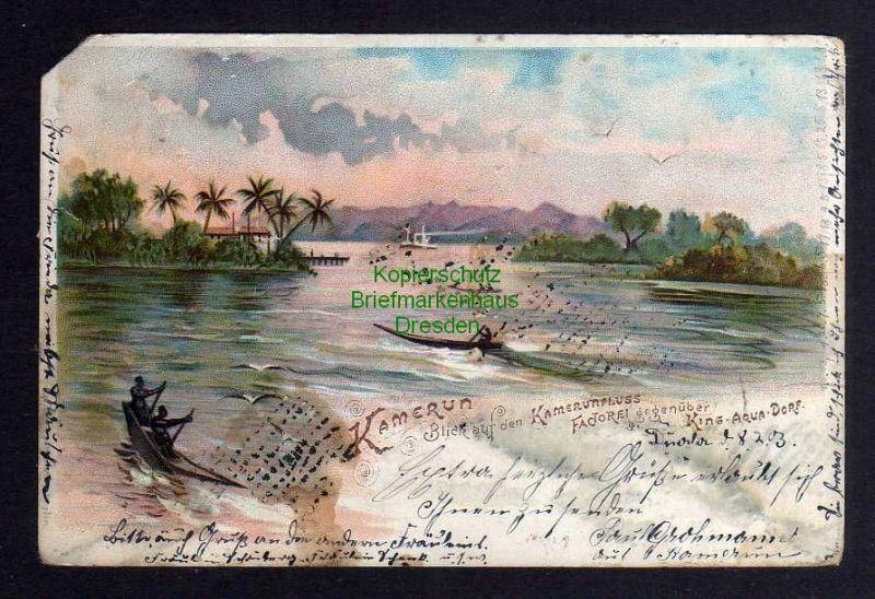 Ansichtskarte Kamerun Litho 1903 Blick auf den Kamerunfluss Factorei gegenüber King