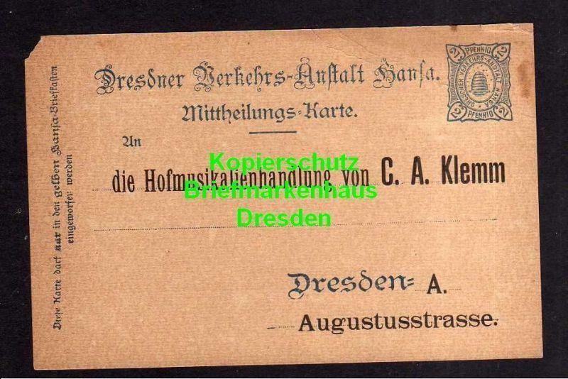 Privatpost Hansa Dresden 1899 Ganzsache Hofmusikalienhandlung C. A. Klemm