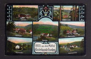 Ansichtskarte Klosterlausnitz Eisenberg Mühltal 1913 Walkmühle Froschmühle Naupoldsm