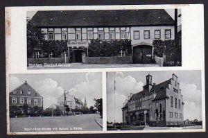 Ansichtskarte Gröditz Richters Gasthof Schule Kirche Rathaus