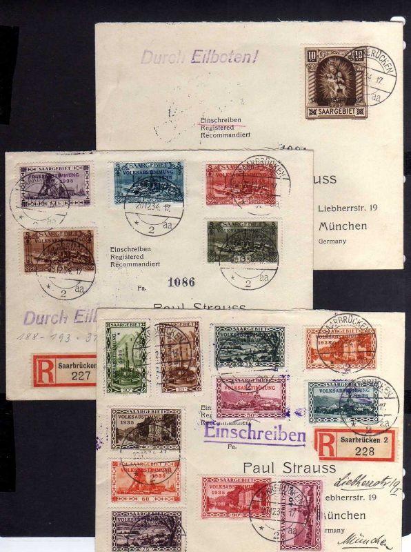 B019 Saargebiet 179 - 194 auf 3 Briefen Echt gelaufen Bahnpost München 2 BZ