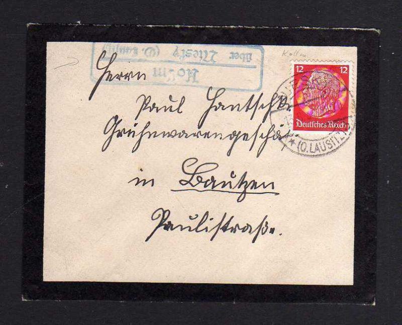 Trauerbrief Niesky 1937 Landpoststempel Kollm über Niesky O. Laustitz