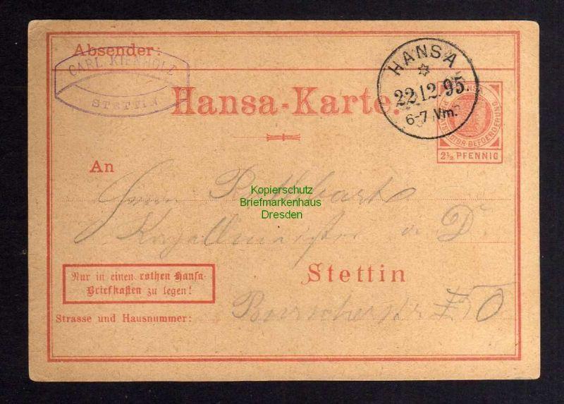 Stettin Privatpost 1895 Hansa Karte Ganzsache