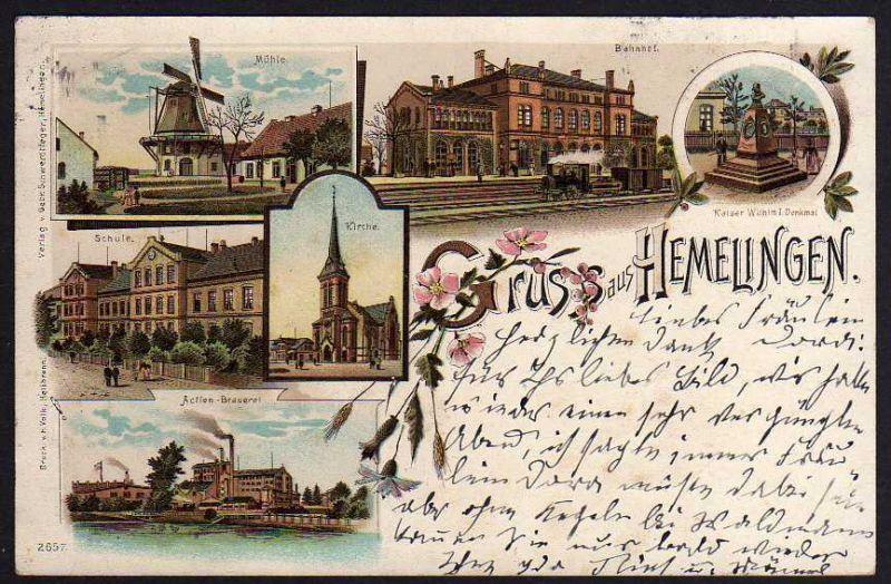 Ansichtskarte Bremen Hemelingen 1897 Litho Bahnhof Windmühle Mole Schule Brauerei 189