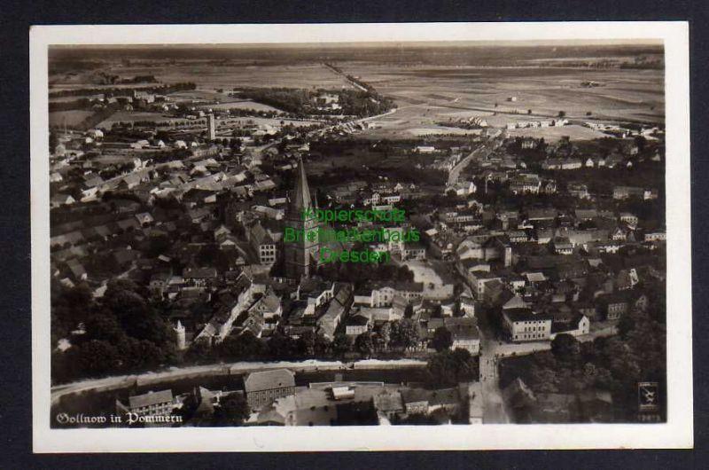 Ansichtskarte Gollnow in Pommern um 1935 Luftbild Fliegeraufnahme Fotokarte Goleniow