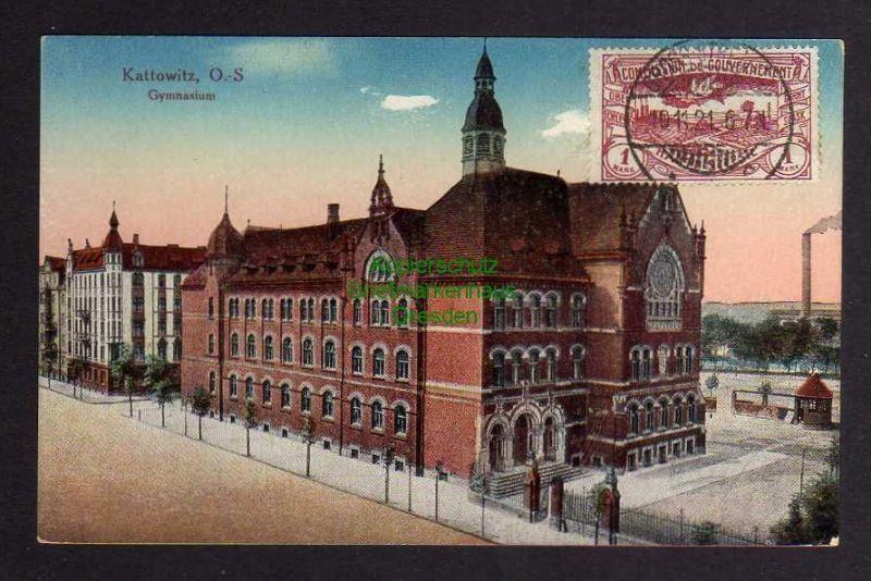 Ansichtskarte Kattowitz 1921 Gymnasium gestempelt Gross Strehlitz