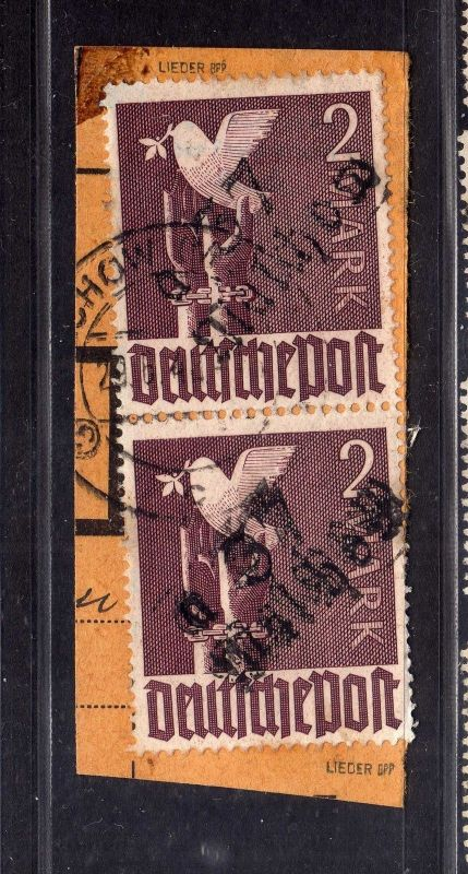 h2490 Handstempel Bezirk 37 50b Malchow 2x 2.- Taube PKA gestempelt gepr. BPP