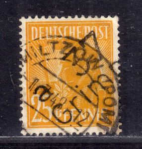 h2440 Handstempel Bezirk 37 31a Grimmen 25 Pfennig gestempelt Voll-o gepr. Liede