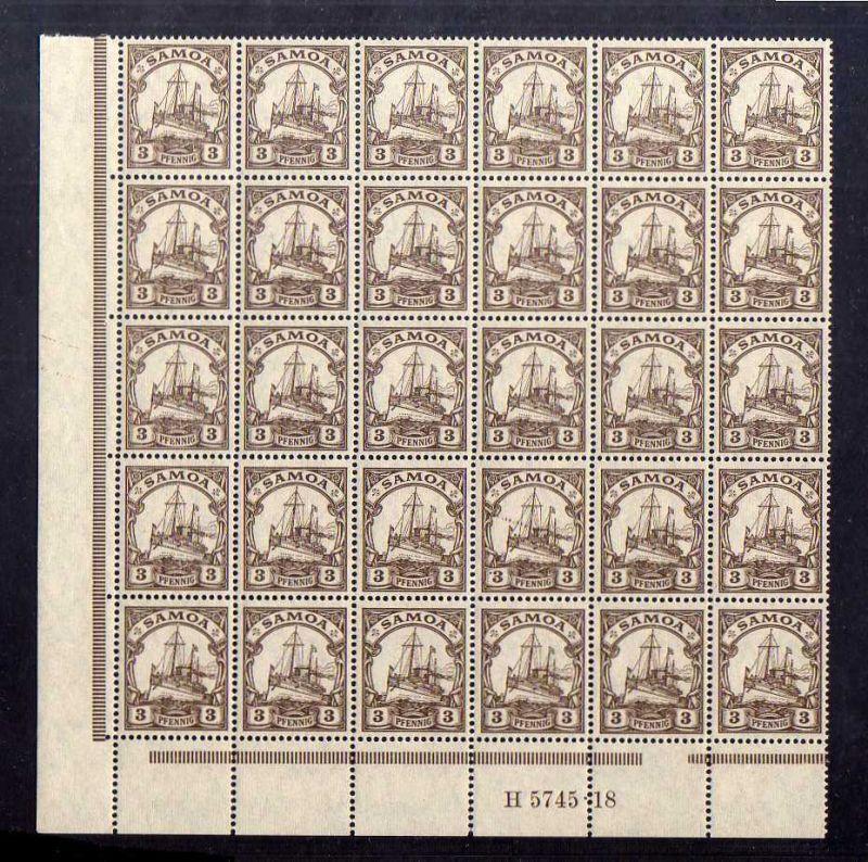 S98 Samoa 30x 20 ** HAN H5745 18  postfrisch 3 Pfennig mit WZ
