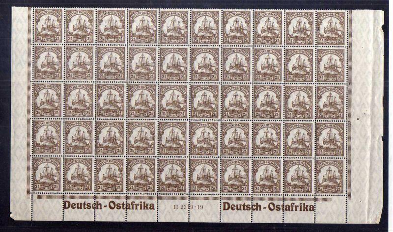 S77 DOA Deutsch Ostafrika 31 II ** postfrisch halber Bogen HAN H H 2319 19 + 2x