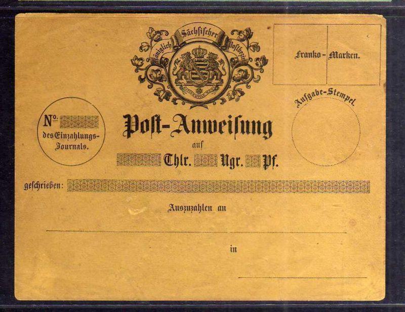 S132 Sachsen Postanweisung Umschlag Brief ungebraucht Felder für franko Marken
