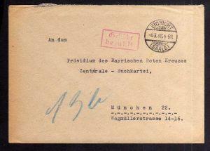 B2055 Brief SBZ Gebühr bezahlt 1946 Eichicht Saale Kaulsdorf Bayr. Rotes Kreuz S