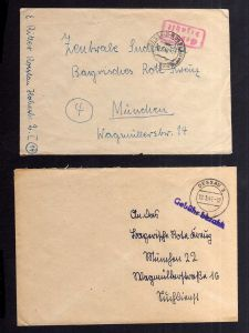 B2052 2x Brief SBZ Gebühr bezahlt 1946 Dessau 3 Dessau-Rosslau Bayr. Rotes Kreuz