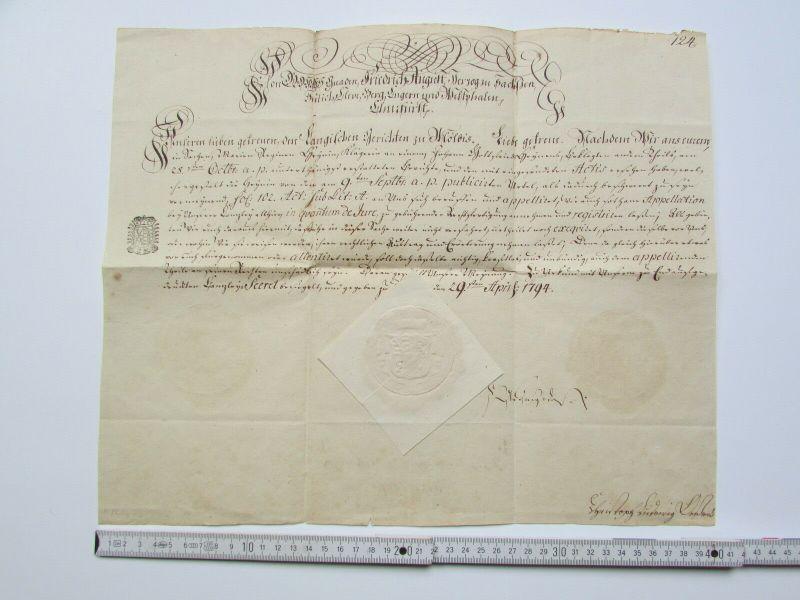 S130 Sachsen Vorphilatelie Fürstenbrief 1794 Friedrich August Herzog zu Sachsen