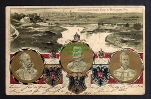Ansichtskarte Myslowitz Schlesien Dreikaiserreichsecke Prägelitho 1900 Dreiländerfra