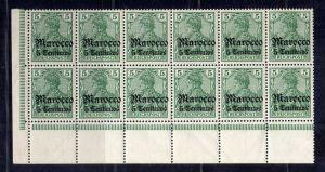B2194 Deutsche Post in Marokko 12x 20 ** postfrisch Bogenecke Mi. 298.-- Eintags