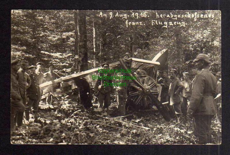 Ansichtskarte 1. Weltkrieg abgeschossenes franz. Flugzeug 9.8.1916 Motor mit Propell