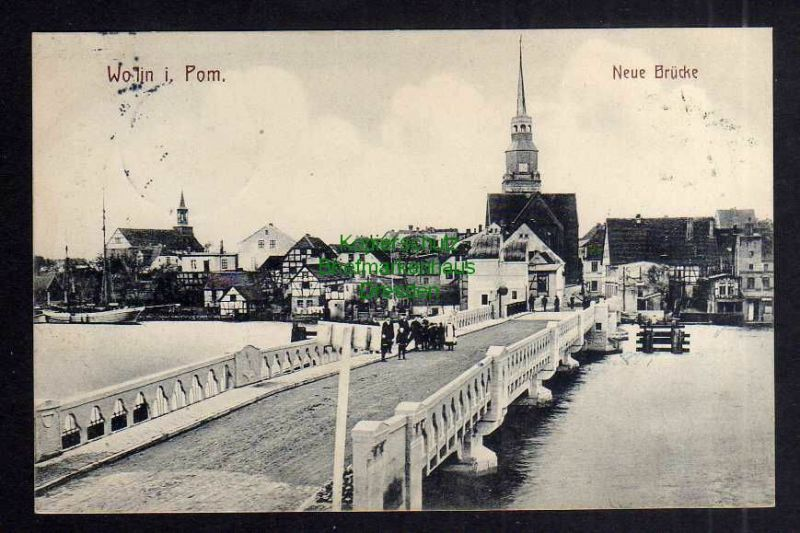 Ansichtskarte Wollin i. Pom. Wolin Neue Brücke 1911