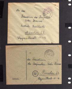 B2102 2x Brief SBZ Gebühr bezahlt Postsache 1946 Meuselwitz Thür. Bayr. Rotes Kr