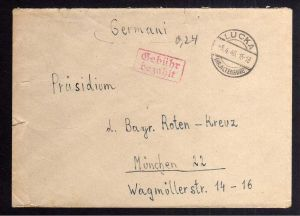 B2090 Brief SBZ Gebühr bezahlt 1946 Lucka Kr. Altenburg  Bayr. Rotes Kreuz Suchk