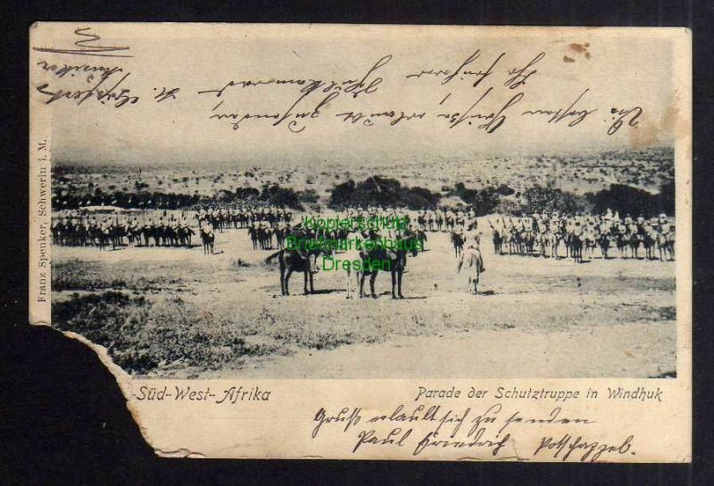 Ansichtskarte Windhuk DSW 1905 Parade der Schutztruppe Feldpost