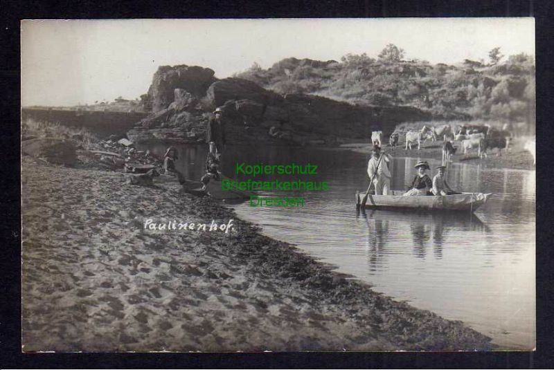 Ansichtskarte DSW Windhuk Paulinenhof Wasserstelle Fotokarte Verlag R. Wywias um 191
