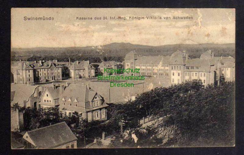 Ansichtskarte Swinemünde 1915 Kaserne des 34. Inf. Reg. Königin Viktoria v. Schweden 0