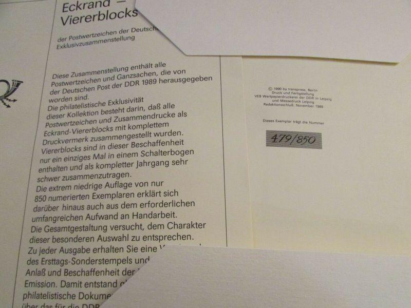 DDR 1989 Exklusiv Jahressammlung mit Eckrand Viererblocks nur 850 Stück mit komp 1