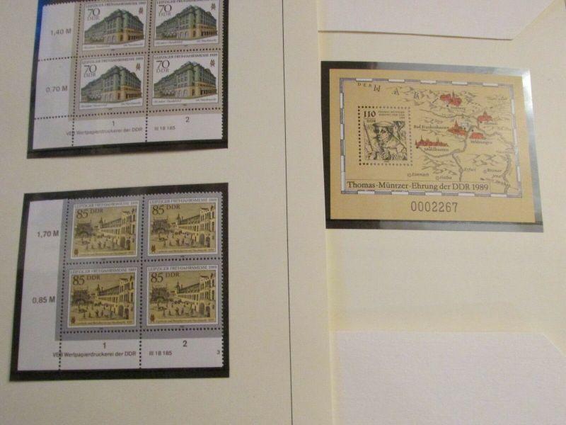 DDR 1989 Exklusiv Jahressammlung mit Eckrand Viererblocks nur 850 Stück mit komp 3