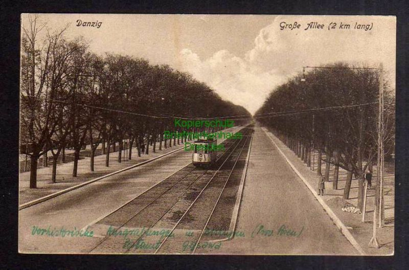 Ansichtskarte Danzig Große Allee um 1920  BISKUPIN Warszawa 1946 0