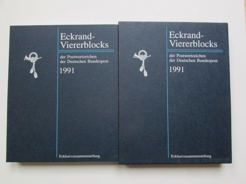 BRD 1991 Jahres Exklusivzusammenstellungen Eckrand Viererblocks Exempar Nr. 2