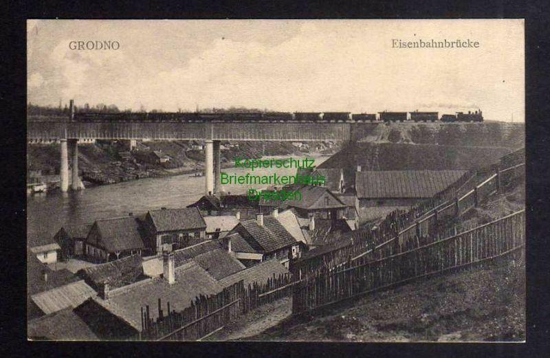 Ansichtskarte Grodno um 1914 Eisenbahnbrücke vor der Zerstörung mit Zug 0