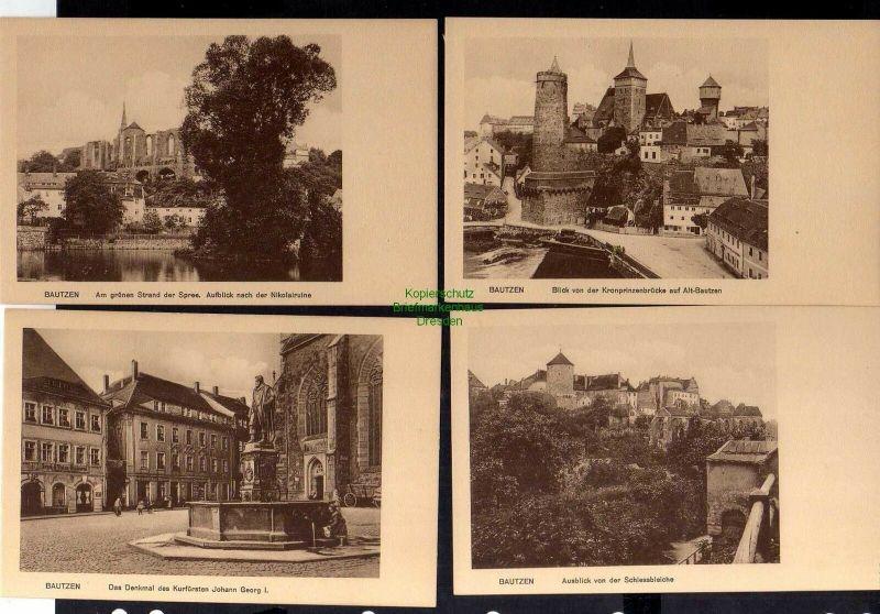 8 Ansichtskarte Bautzen um 1930 Nicolairuine Altstadt Spree Lauenturm Scharfenweg Sc 0