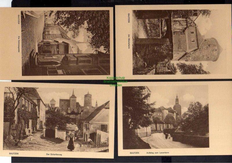 8 Ansichtskarte Bautzen um 1930 Nicolairuine Altstadt Spree Lauenturm Scharfenweg Sc 1