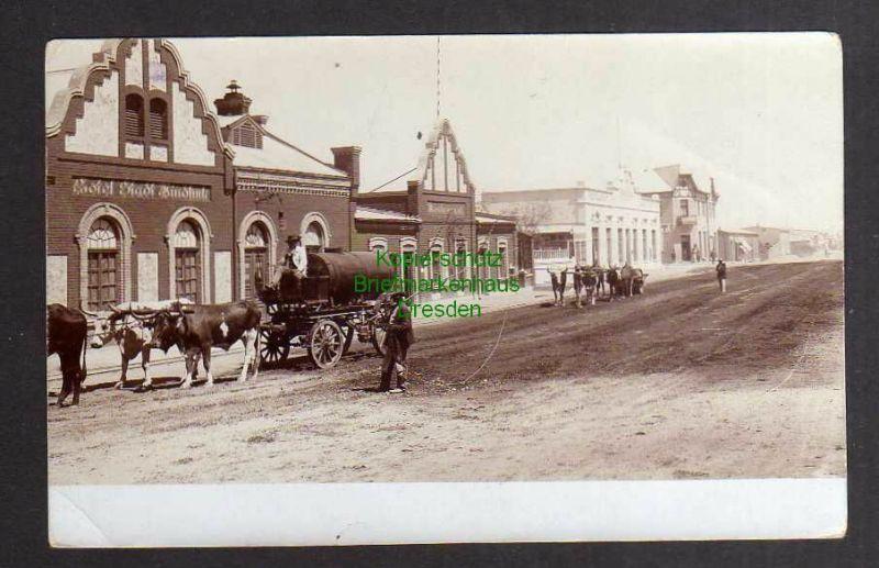 Ansichtskarte Windhuk DSW um 1910 Fotokarte Hotel Stadt Winhuk Restaurant Straßenbau