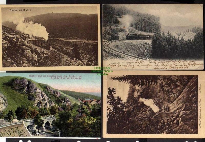 4 Ansichtskarte Harz Zahnrad Bahn Brücke Kalte Bode bei Rothehütte Eckerloch Zirlber 0
